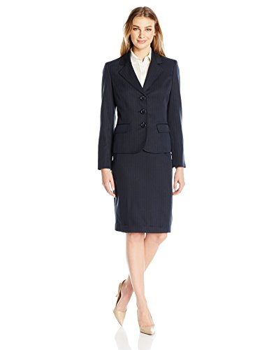 Le Suit Women's Three Button Skirt Suit, Navy, 6 ()