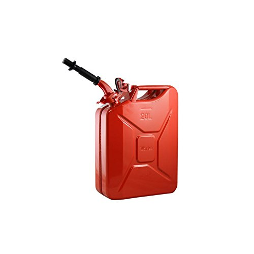Wavian USA JC0020RVS Red Authentic NATO Jerry Fuel Can and Spout System (20 Liter) Red Usa Systems