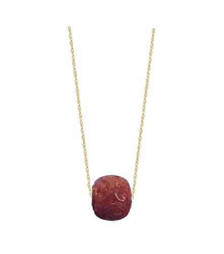 - 14k Yellow Gold Hand Carved Jade Barrel Pendant with 18