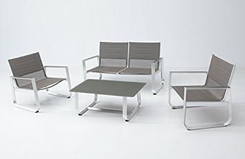 Set sofa terraza Esparta aluminio y textilene: Amazon.es: Jardín