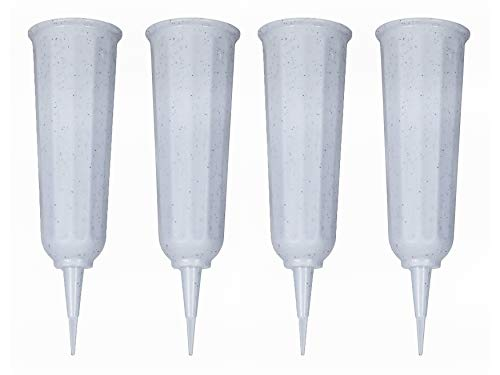 Black Duck Brand Set of Green Cemetery Vases - 9.75x3 Including Stake - Green to Blend with Turf (White, 4)