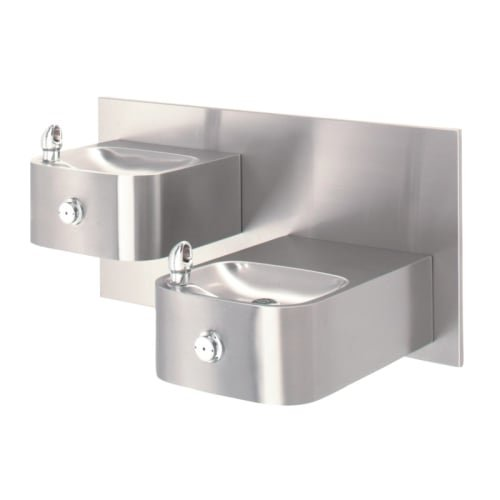 Haws 1119.14 Dual Satin Finish 14 Gauge 304 Stainless Steel ''Hi-Lo'' Barrier-Free Wall Mounted Drinking Fountain with Back Panel (Mounting Frame Not Included)