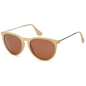 GAMMA RAY Polarized UV400 Vintage Retro Round Thin Style Sunglasses - Brown Lens on Matte Beige