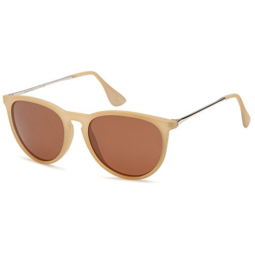 Gamma Ray Polarized Sunglasses for Women - Brown Lens on Matte Beige Frame