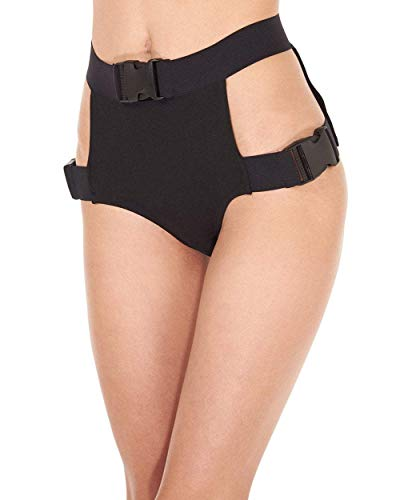 iHeartRaves Black On The Brink Strappy Tactical Buckle High Waisted Shorts (Detail Shorts Bottoms)