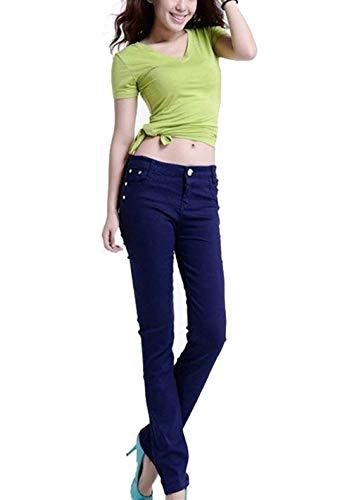 A Abbigliamento Jeans Vita Matita Denim Unita Skinny Frontali Donna Tinta In Da Alta Marine Casual Tasche Pantaloni Moda x6In6ZYrF