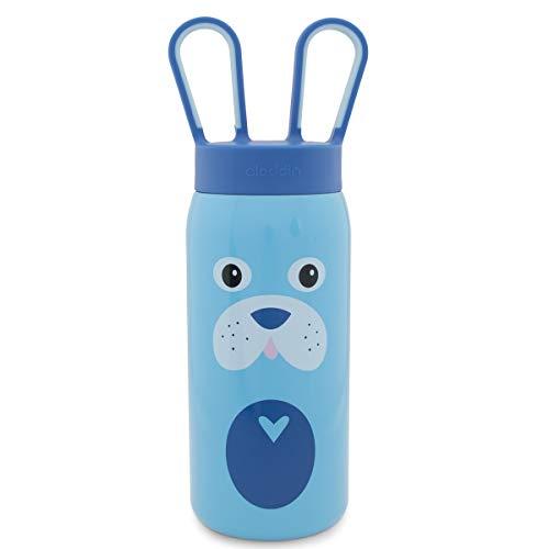 Aladdin 16 oz Blue Dog Stainless Steel Water Bottle Kids Girls Boys BPA Free for Kids Cute Animals Unique Water Bottle Screw Top