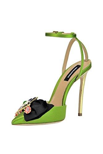 Chaussures Femme À Vert MCGLCAT03171E Dsquared2 Satin Talons qzxH86wxf