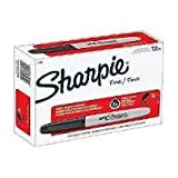 Sharpie Permanent Markers, Fine Point, Black, 24 Packs of 12