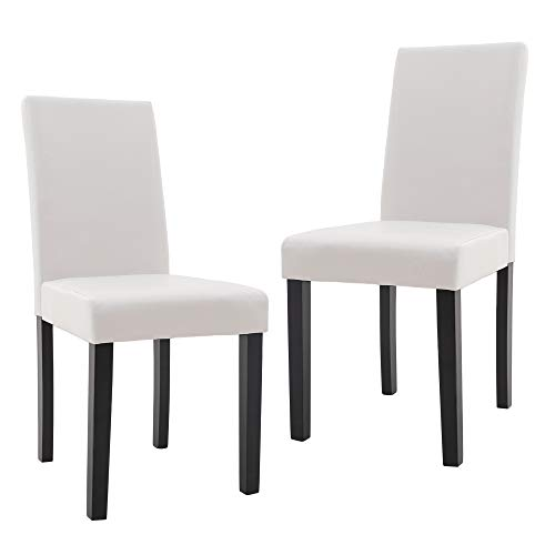 DAGONHIL Dining Chairs Leather Kitchen Parson Chair Urban Style Dining Side Chair with Solid Wood Legs,Set of 2(White)