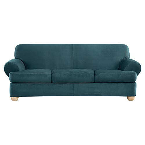 Sure Fit Ultimate Heavyweight Stretch Suede Slipcover (Peacock Blue, 3 Piece T-Cushion Sofa)