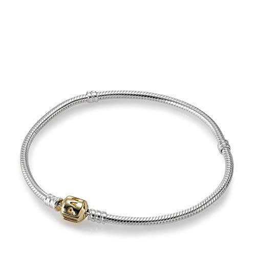 Pandora Silver Charm Bracelet With 14K Gold Clasp, 7.9