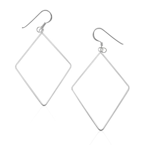 Diamond Shaped Wire Hoop Dangles - Sterling Silver Hoops Hook (Diamond Shaped Hoop)