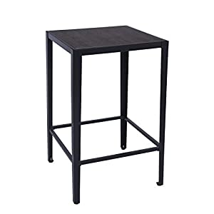 GreenForest Bar Table 38.4-Inch Pub Dining Height Table Square High Standing Computer Desk with Metal Legs, Black
