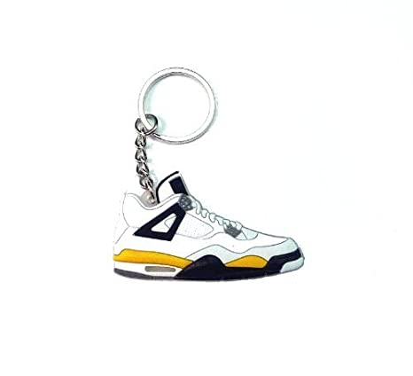 cf9af7f3a6f Image Unavailable. Image not available for. Color: Jordan IV/4 White/Tour  Yellow LS Sneakers Shoes Keychain Keyring AJ 23 Retro