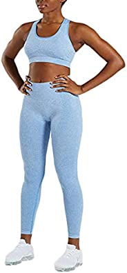 Hotexy Women's Workout Sets 2 Pieces Color Block Yoga Leggings with Stretch Sports Bra Gym Clothes