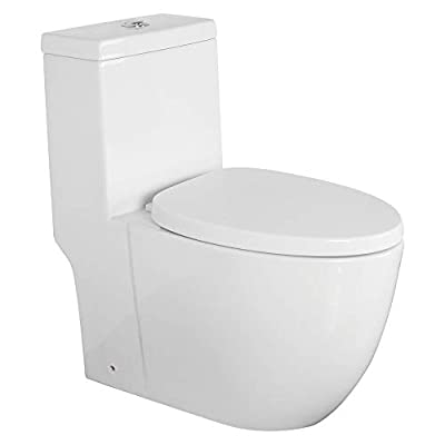 Transolid TBTS-2420-01 Pierce Elongated 1-Piece Vitreous China, Water-Efficient Dual-Flush 1.28/0.8 GPF All-in-One Toilet Kit with Slow-Close Seat, White