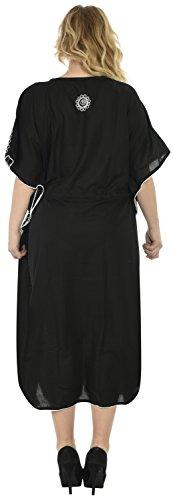 La Leela catena punto della notte ricamato abito plus size lungo caftano caftano