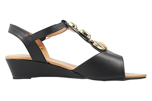 Andres Machado Damen Keil-Sandaletten - Schwarz Schuhe in Übergrößen
