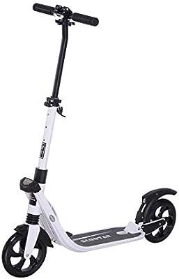 HOMCOM Patinete Plegable para Adultos y Niños más de 14 años Scooter con Manillar Altura Ajustable Tipo Monopatín con Freno Grandes Ruedas Carga 100kg ...