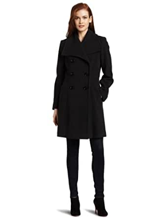 Larry Levine Women's Double-Breasted Wool Coat, Dark Charcoal, 10