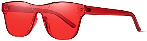 AOOFFIV One Piece Rimless Tinted Sunglasses Transparent Candy Color Wayfarer (Red) (Red Mens Sunglasses)