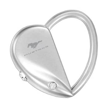 Ford Mustang Pull Apart Heart Shape Keychain With 2 Clear Crystals