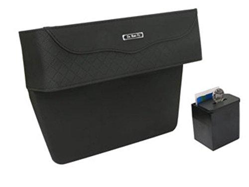 PU Leather Car Seat Gap Storage Box Money Pot Grain Organizer Gap Slit filler Phone Holder by Greenmarkets (Black) (Pu Headlight Cover)