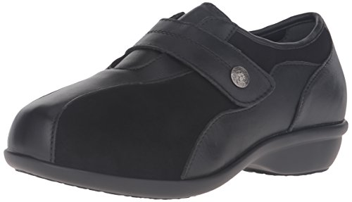 Propet Women's Diana Strap Flat, Black, 9 4E US (Best Shoes For Icy Pavements)