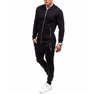 Clearance! Ankola Men's Zip-Up Fleece Casual Jacket Sport Sweatshirt Coat + Pants Sweat Suit (L, Black)