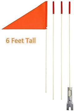 Bandera de seguridad para remolque de bicicleta, alta visibilidad, 1,8 m, asta de fibra de vidrio, banderas naranjas, bandera de caballero y bandera nacional., Italy: Amazon.es: Deportes y aire libre