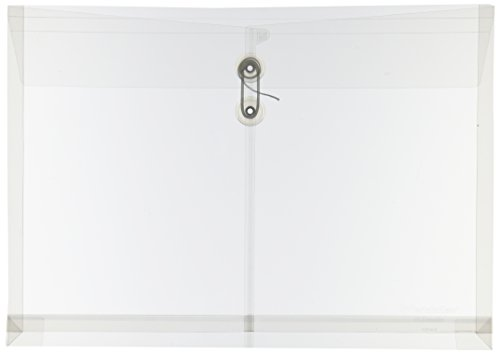 Pendaflex Expandable Poly String and Button Booklet Envelope, 14.5 x 9 Inches, Clear, 3 per Pack (63814-3)