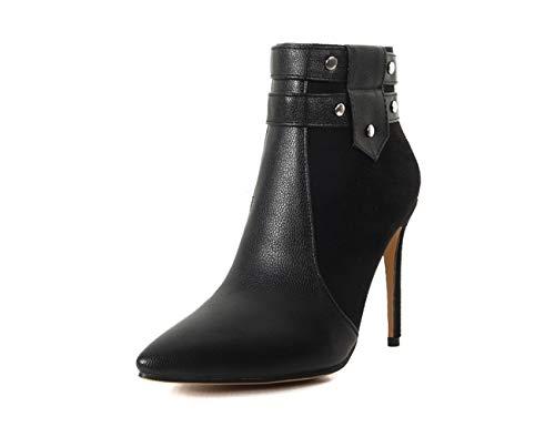 OCHENTA Women's Velvet Leather Stitching Pointed Toe 10.5 cm Heels Ankle Boots UK 2.5-10 Black