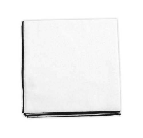 Mens Black Border (The Tie Bar White Cotton Pocket Square (Black Border))