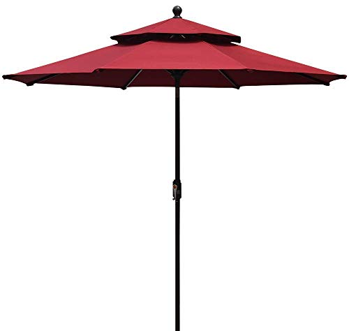 EliteShade Fadesafe 9ft 2 Layers Market Umbrella Patio Outdoor Table Umbrella with Ventilation (FadeSafe Burgundy Clarity)