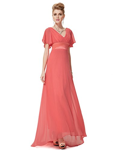(Ever-Pretty Long Floor Length Sexy V-Neck Evening Dresses Coral US26)