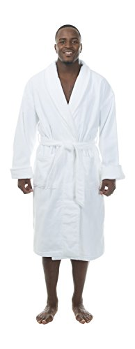 Terry Velour Shawl Collar Robe - Comfy Robes Men's Terry Velour Shawl Collar Bathrobe, L/XL White