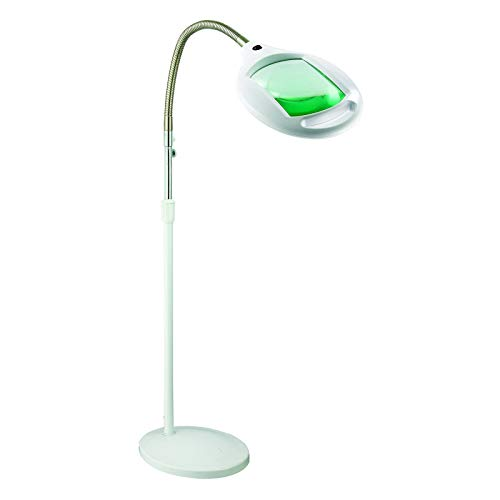 Brightech LightView Pro LED Magnifying Floor Lamp - Daylight Bright Full Spectrum Magnifier Lighted Glass Lens - Height Adjustable Gooseneck Standing Light - For Reading Task Craft Lighting - White