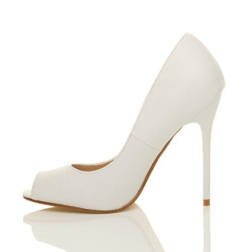 Ajvani Damen Hohen Absatz Arbeit Party Grund Peep Toe Schuhe Pumps Sandalen Größe Weiß Matt