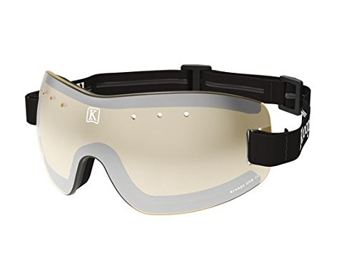 Kroops Brand 13-Five Skydive Goggles by Kroops for Skydiving, Motorcycling, Scooters, Bicycling - Protection from Wind, Dust, Dirt - Amber lens with black adjustable, non-slip headband