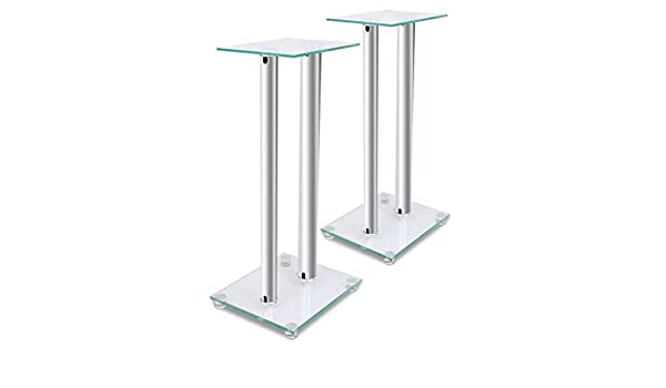 f10d5eb1cc3eb Amazon.com: SKB family 2 pcs Glass Speaker Stand (Each with 2 Silver ...