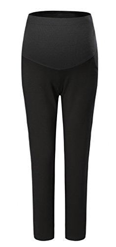 Vocni Women's Maternity Work Trousers Full Length Office Formal Elegant Maternity Pants in Straight Pregnancy Bottoms Work Black US M-Asia Tag XL