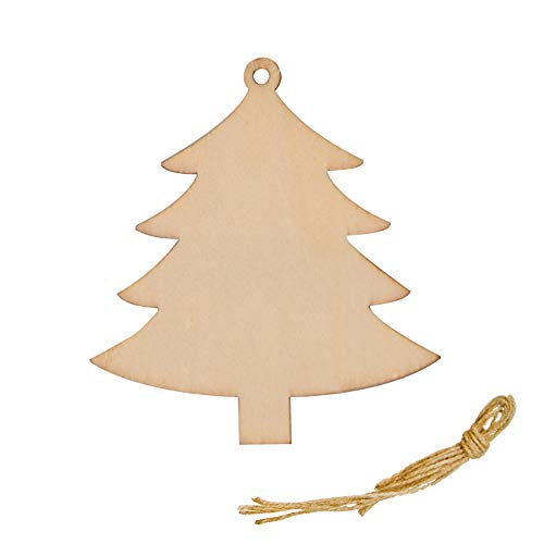 R STAR DIY Crafts Natural Wood Slices Christmas Tree Ornaments, Wooden Hanging Plaque Christmas Tree Decoration, Pack of 20(Christmas Tree) (Christmas Wooden Large Tree)