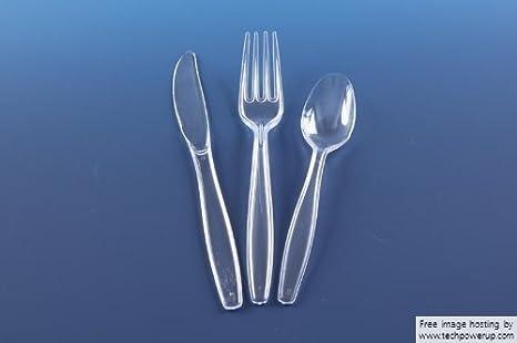 Thali Outlet 2 x 100 x Cuchillos, Tenedores y cucharas - Cubertería de plástico Transparente tamaño Completo desechable y Resistente: Amazon.es: Hogar
