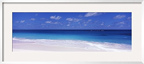 "Art.com Waves on the Beach, Shoal Bay Beach, Anguilla by Panoramic Images Framed Photographic Print, 19 x 43"", Blue"