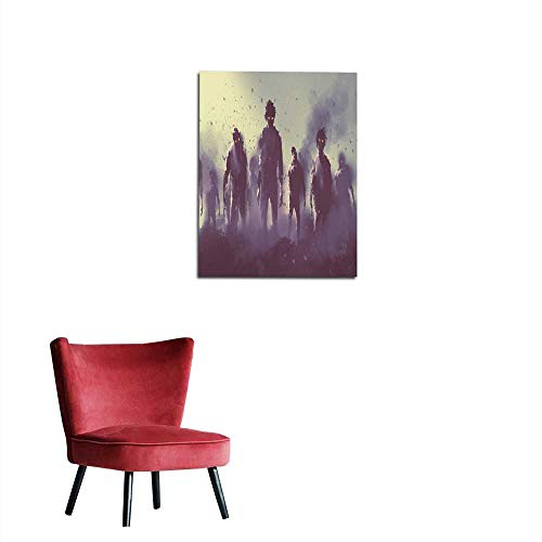longbuyer Wall Picture Decoration Zombie Crowd Walking at Night Halloween Concept Mural -