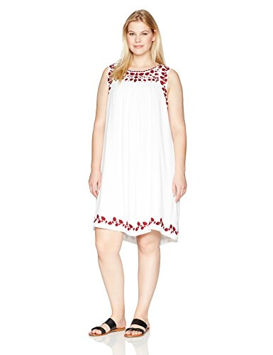 Boho-Chic Vacation & Fall Looks - Standard & Plus Size Styless - Lucky Brand Women's Plus Size Hannah Shift Dress, Lucky White
