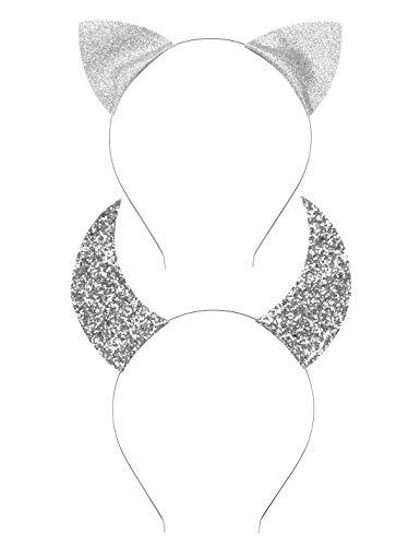 (Uniqhia Halloween Headband Devil Horns and Felina Glitter Cat Ears Headbands Kitty)