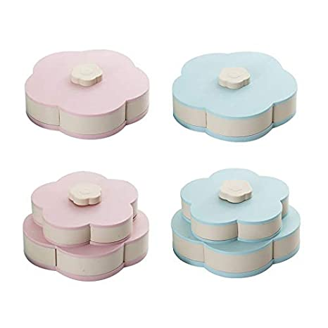 HoganeyVan Bloom Snack Box Modello Creativo Rotante Doppia Ciotola di Frutta Doppia Scatola di Caramelle Matrimonio Caramella Petalo Scatola di Frutta Scatola di Semi