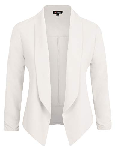 Michel Womens Casual Blazer Work Office Lightweight Stretchy Open Front Lapel Jacket OFFWHITE Medium